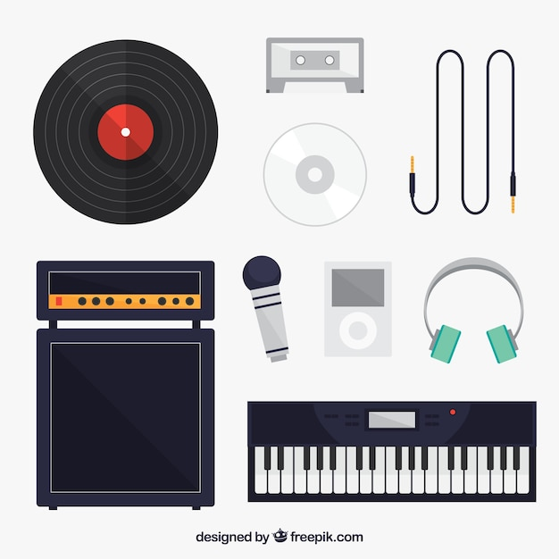 Collection of items related to music Free Vector