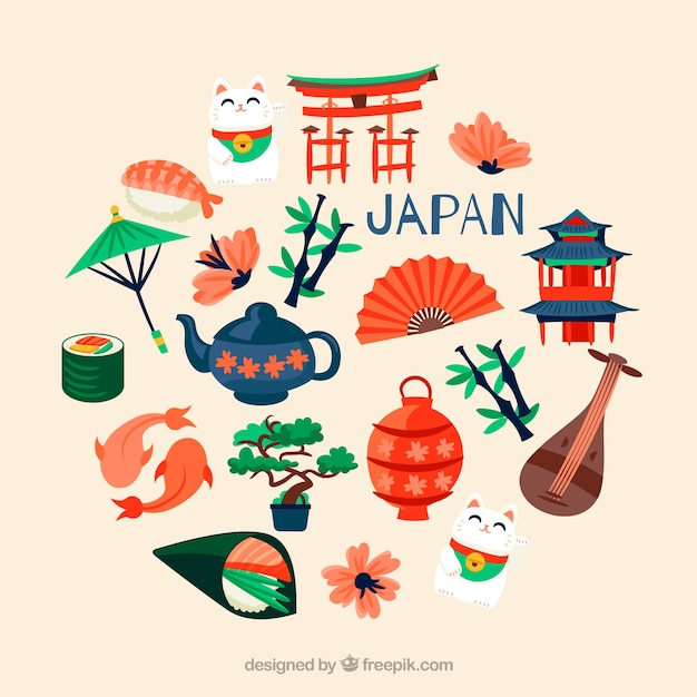 Collection of japanese elements Free Vector