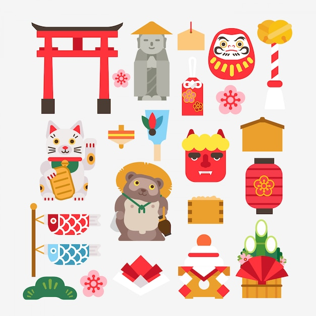 Collection of japanese new year Premium Vector