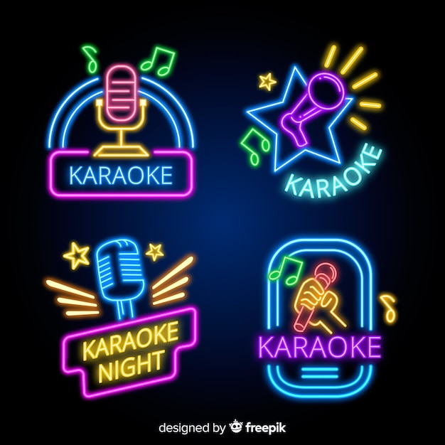 Collection of karaoke neon lights Free Vector