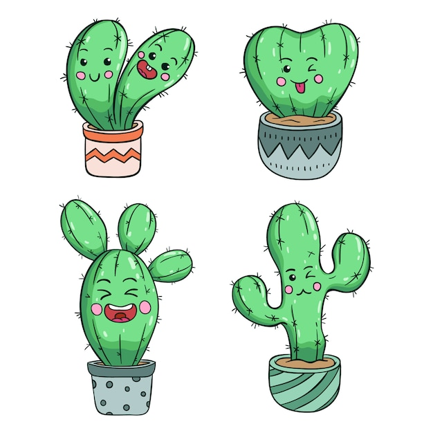Collection of kawaii cactus with funny expression Premium Vector