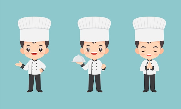 Collection of kawaii chef character Premium Vector