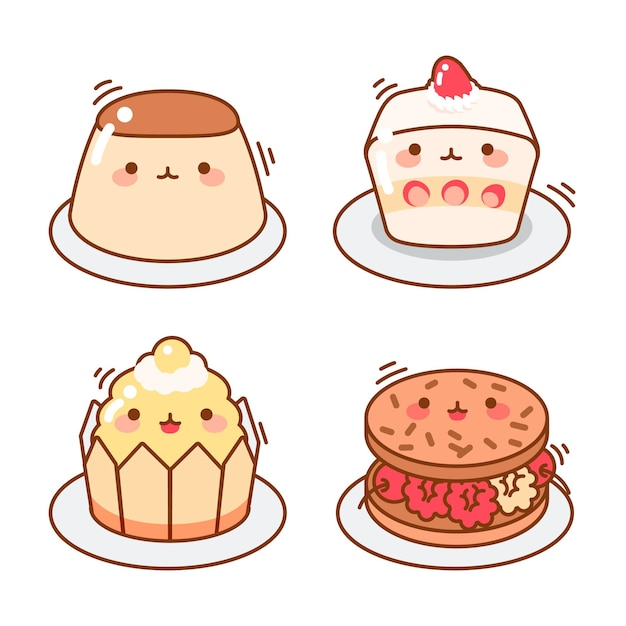 Collection of kawaii japanese dessert Free Vector