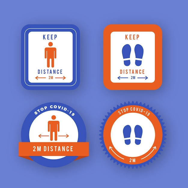 Collection ofkeep distance signs Free Vector