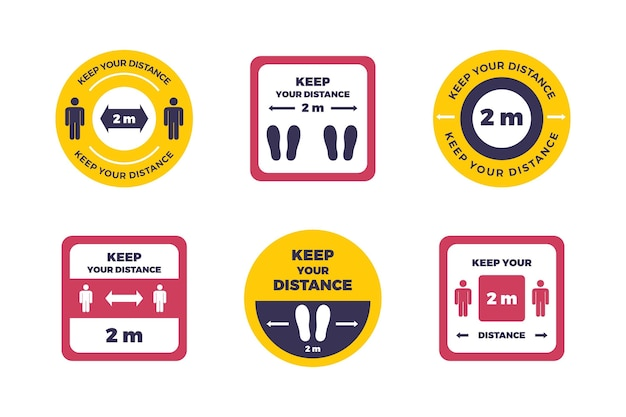 Collection of keep your distance signs Free Vector