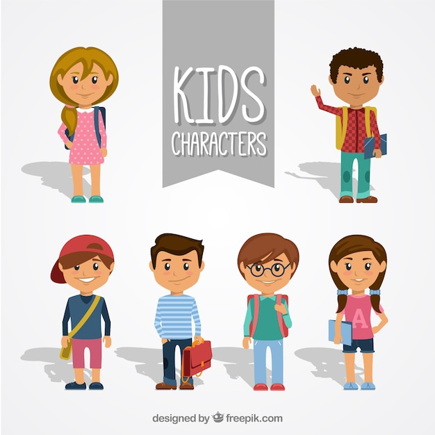 Book Icon Vector Male Student Or Teacher Person Profile: Collection Of Kid Characters Vector