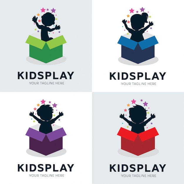 Collection of kids play in box logo designs template Premium Vector