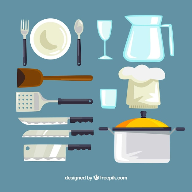 Collection of kitchen utensils and chef hat Vector  55522c5e375
