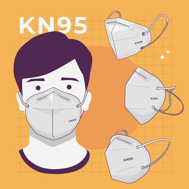Collection of kn95 face mask in different perspectives Free Vector