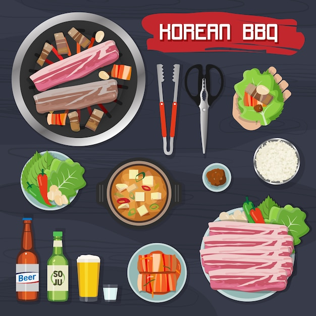 Collection of korean barbecue elements Premium Vector