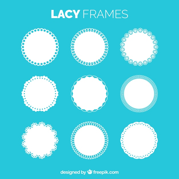 Collection of lace frame Free Vector