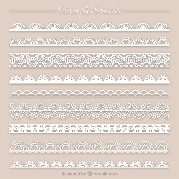Collection of lace ornament Premium Vector