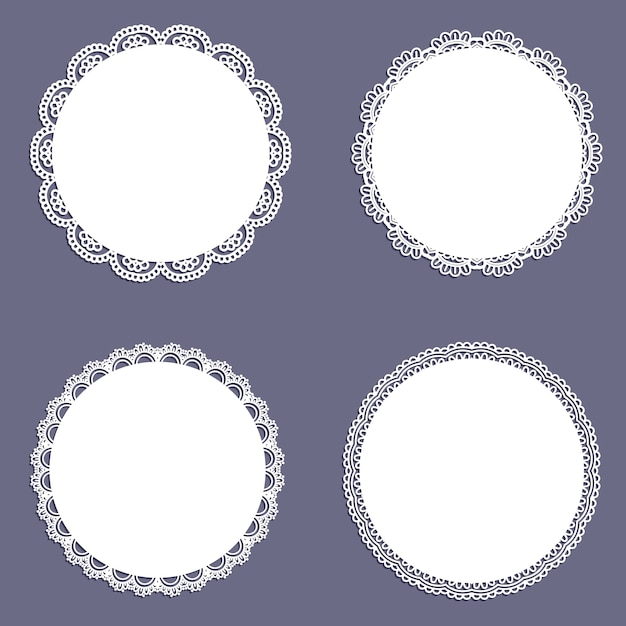 Collection of lace styled circular backgrounds Free Vector