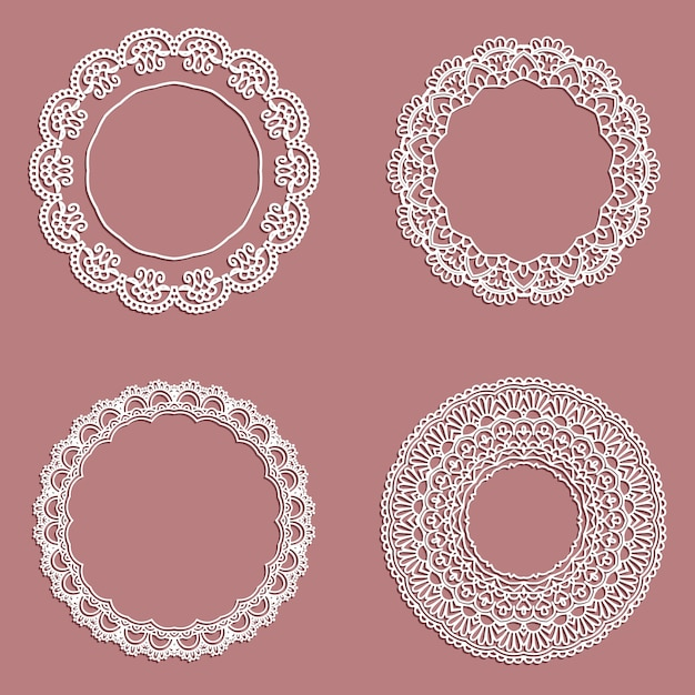 Collection of lace styled circular frames Free Vector