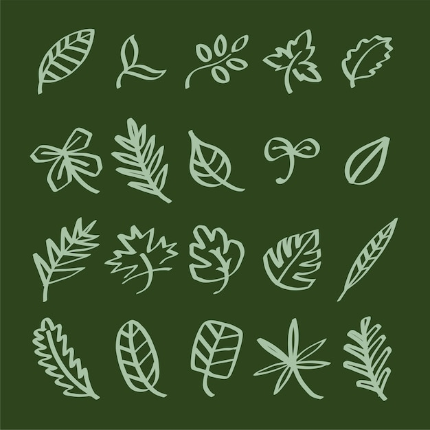 Collection of leaf doodles illustration Free Vector