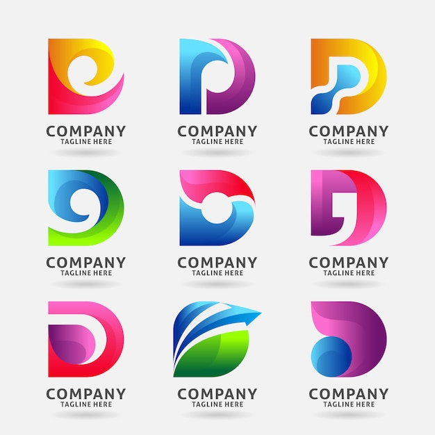 Letter D Templates.Collection Of Letter D Modern Logo Template Design Vector