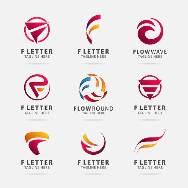 Collection of letter f logo design Premium Vector
