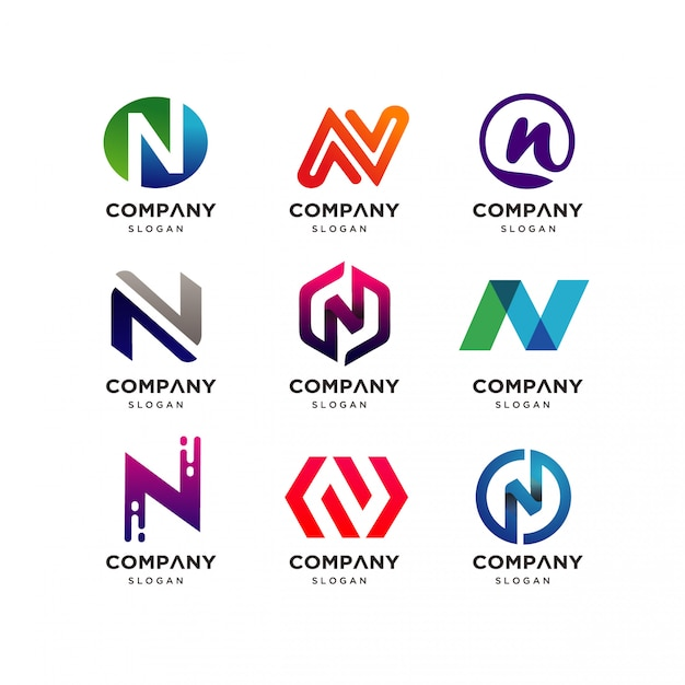 Collection of letter n logo design Premium Vector