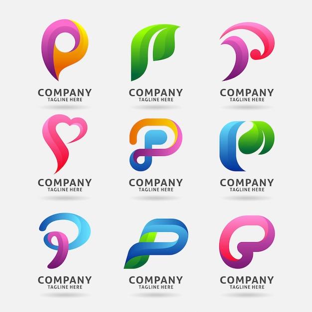 Collection of letter p modern logo design Premium Vector