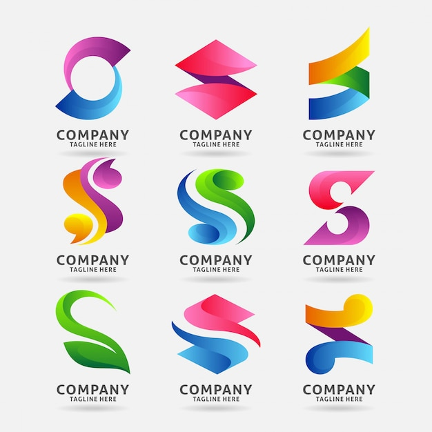 Collection of letter s modern logo design Premium Vector