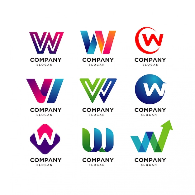 Collection of letter w logo design templates Premium Vector