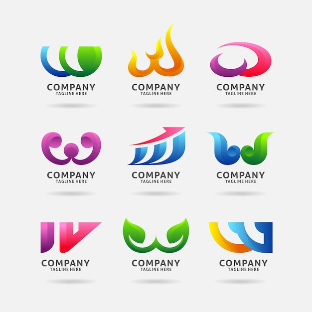 Collection of letter w modern logo design Premium Vector