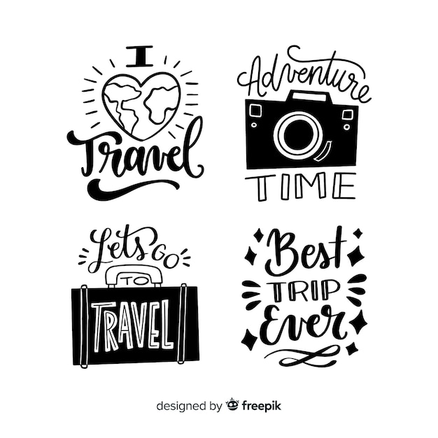 Collection of lettering travel badges Free Vector