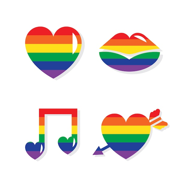 Collection of lgbt valentines day icons Free Vector