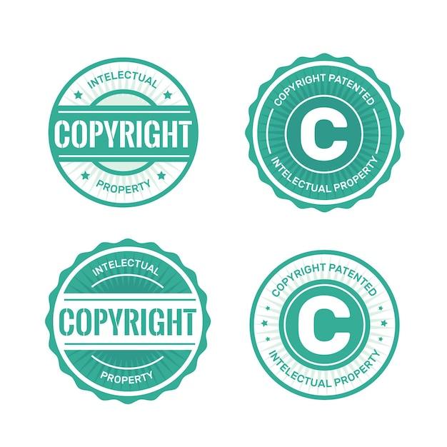 Collection of licensed copyright stamps Premium Vector
