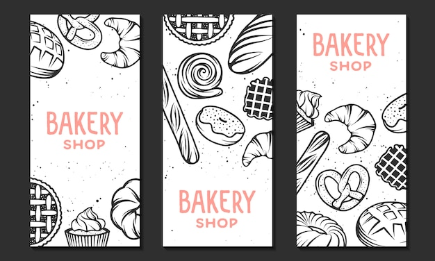 Collection of linear bakery flyer template. Premium Vector