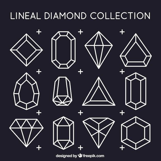 Raccolta dei diamanti lineari Vettore gratuito