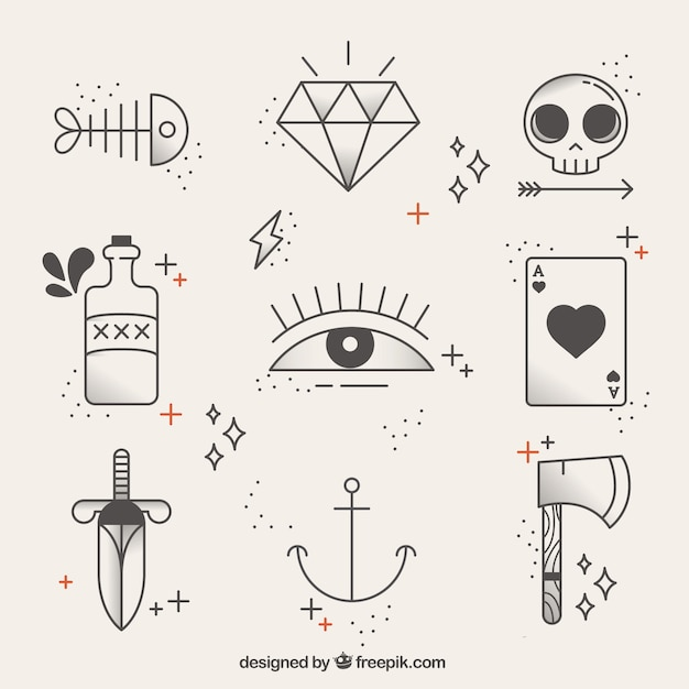 Collection of linear tattoos Free Vector