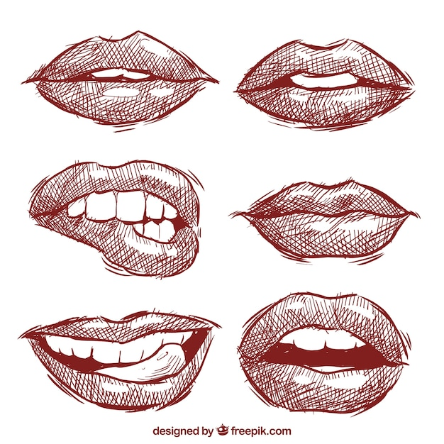 Collection of lips sketched Free Vector