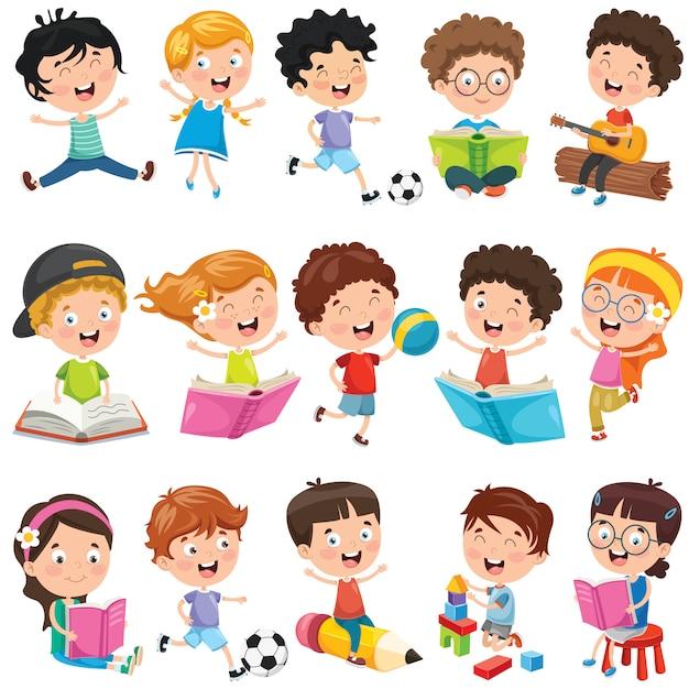 Collection of little cartoon children Premium Vector