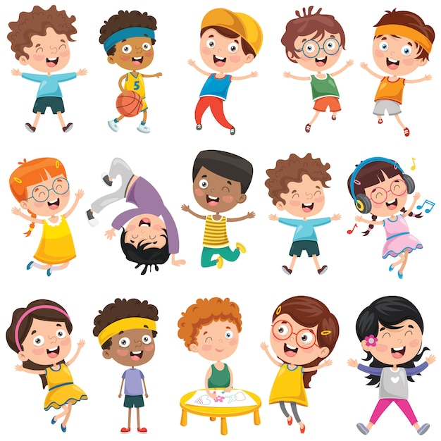 Collection of little cartoon children Premium Vector