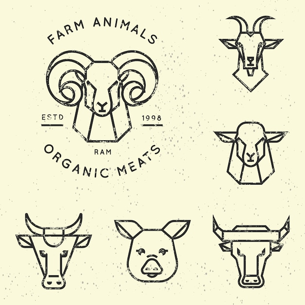 Collection of logo for farm animals in linear style Premium Vector