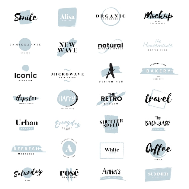 Collection of logos and branding vector Free Vector