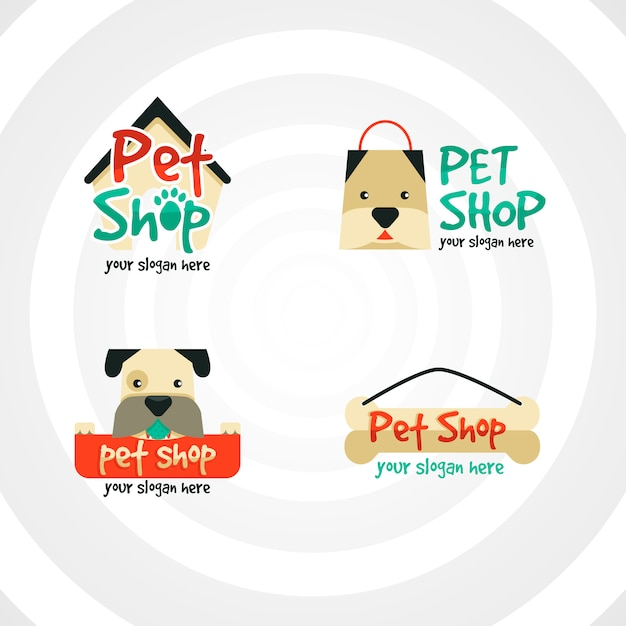 Collection of logos for pet companies Premium Vector