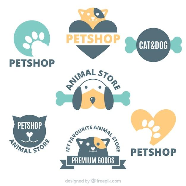 Collection of logos for a pet shop Premium Vector
