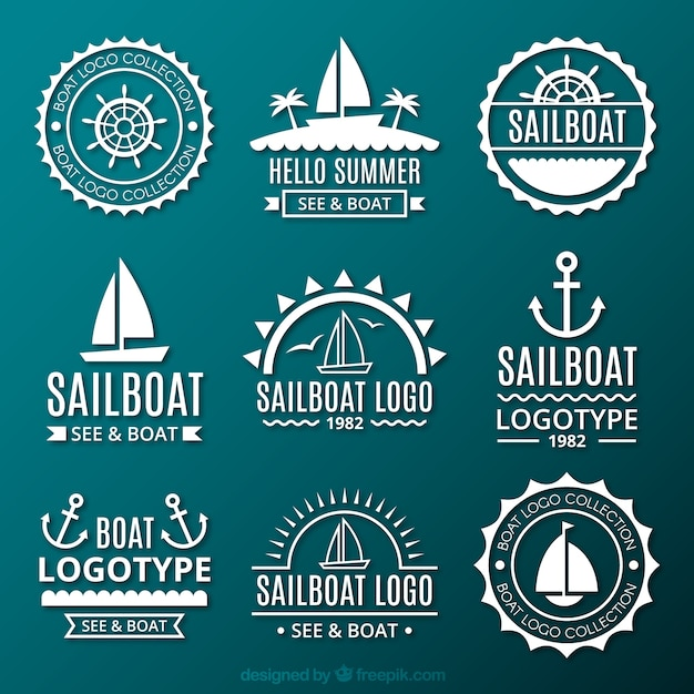 Collection of logos sailors Free Vector