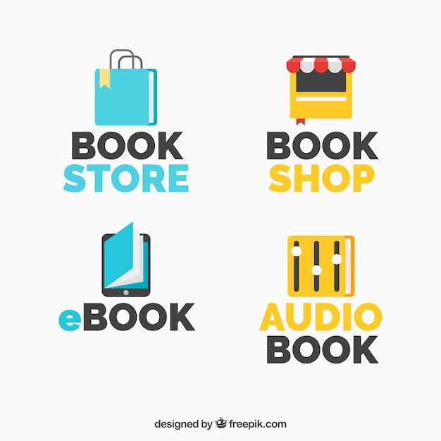 Collection of logos with books for different businesses Free Vector