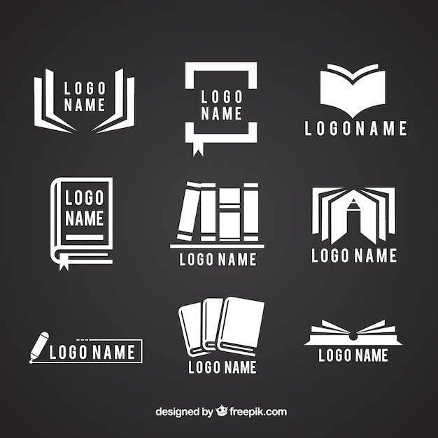 Collection of logos with books Free Vector