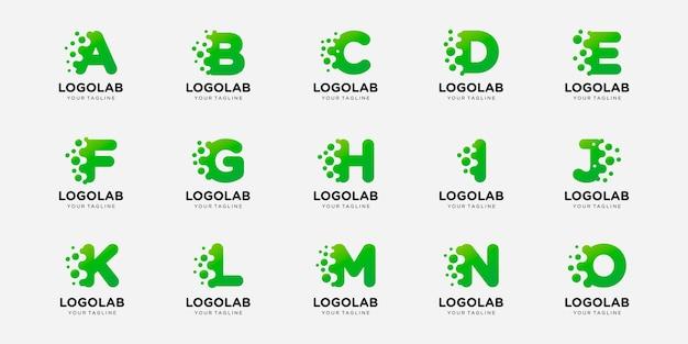 Коллекционное письмо с логотипом или инициал с шаблоном логотипа концепции точки и молекулы. Premium векторы