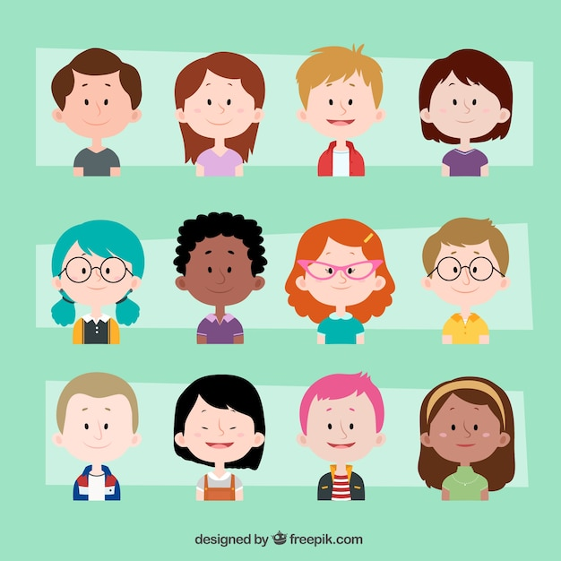 Collection of lovely children avatars Free Vector