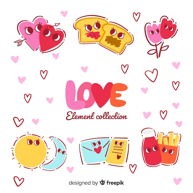 Collection of lovely elements illustrated Free Vector
