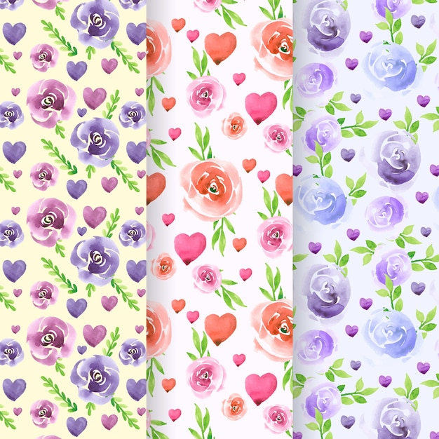 Collection of lovely watercolor valentine's day pattern Free Vector