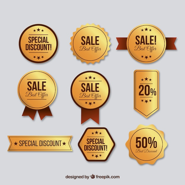 Collection of luxury discount sticker Free Vector