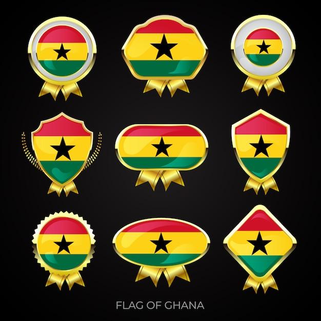 Collection of luxury golden flag badges of ghana Premium Vector