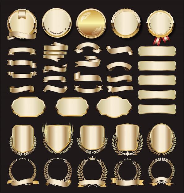 Collection of luxury golden Premium Vector