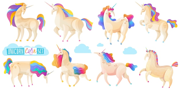 Collection of magic unicorns Free Vector
